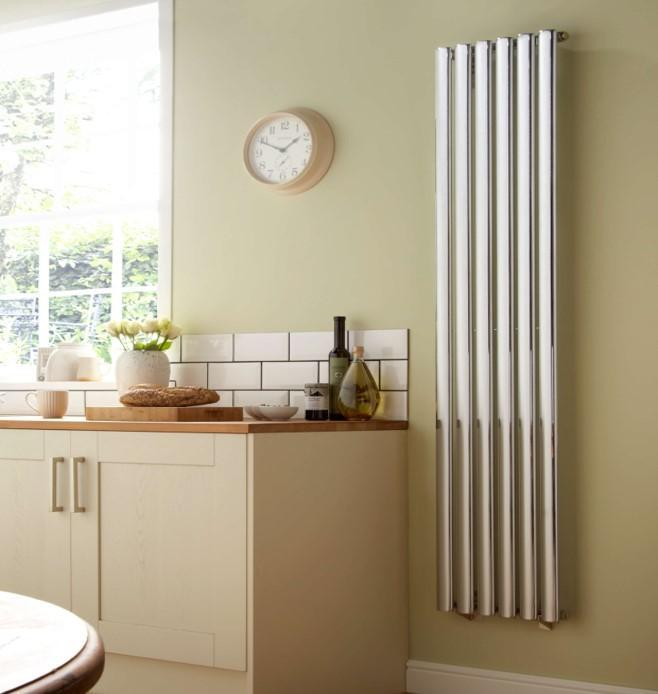 Dorney chrome vertical style designer radiator that works well in a kitchen