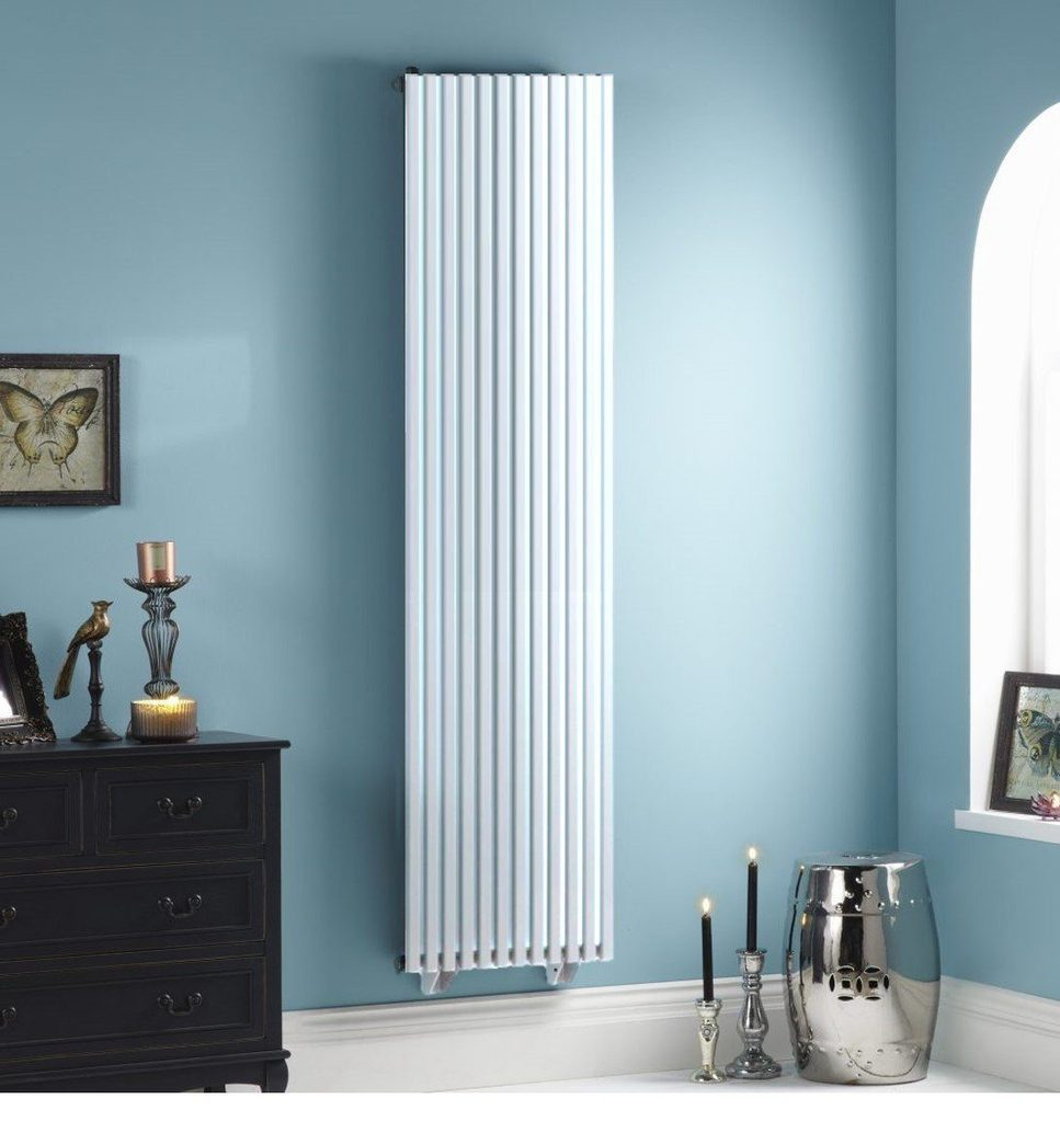 Oxfordshire white vertical radiator with dual fuel ability
