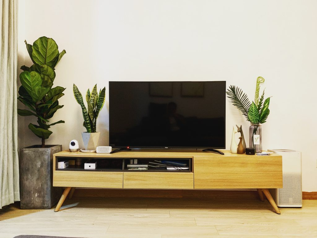 Mid century modern reclaimed wood TV stand