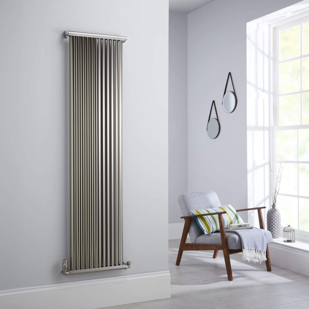 Accuro Korle Zephyra Designer Radiator in a brushed aluminium finish