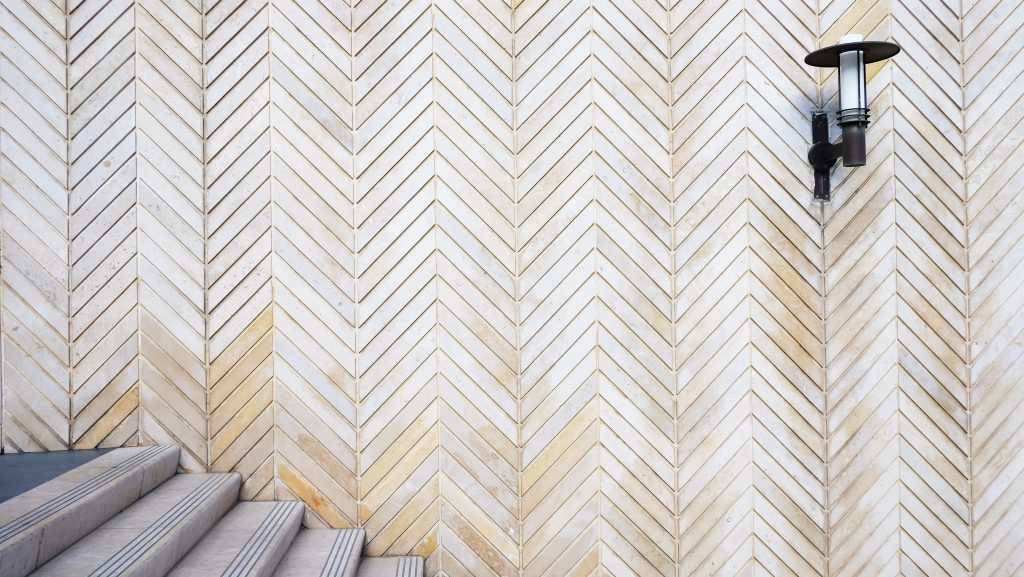 Stunning distressed wooden herringbone pattern wall