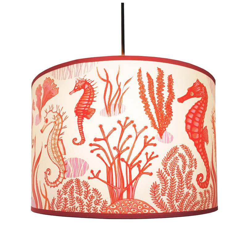 Living coral seahorse design lampshade by Lush Designs