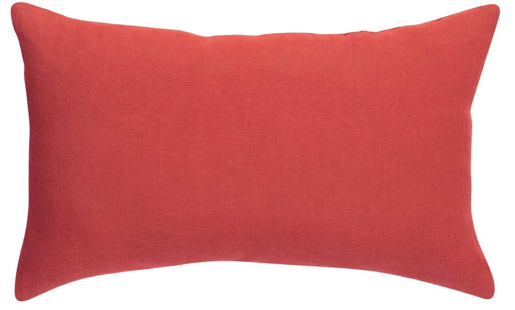 A red cushion or two could add a bright pop of colour to your sofa