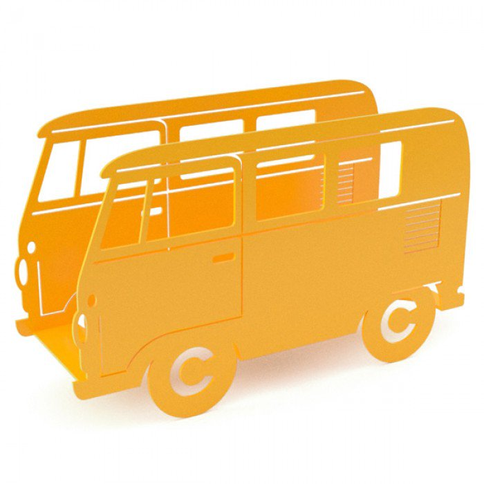 Inject some colour into your home with fun yellow home accessories - this camper van design magazine rack is a great example.