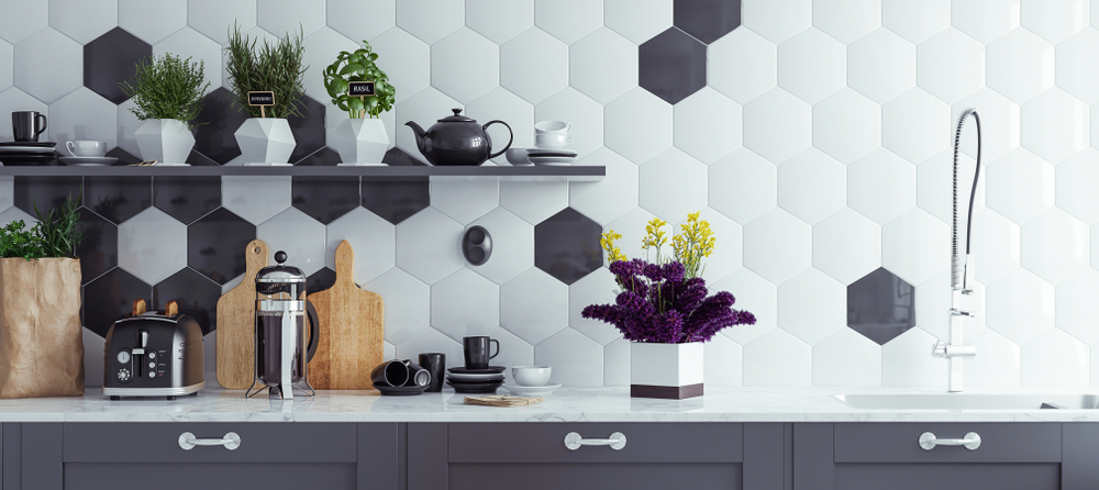 Geometric tiles are one of the top tile trends of 2019. Hexagon shaped tiles are really effective used on walls and floors.