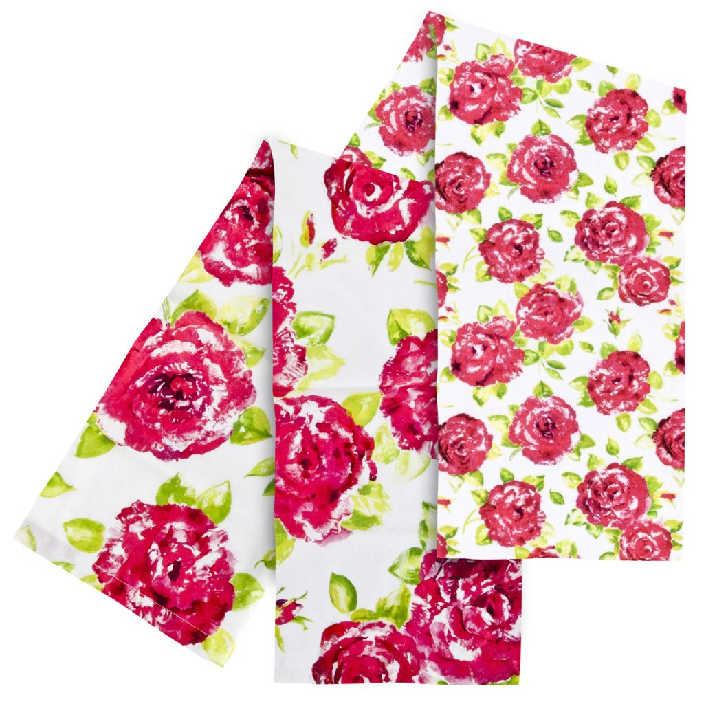 Pretty pink and white floral tea towels
