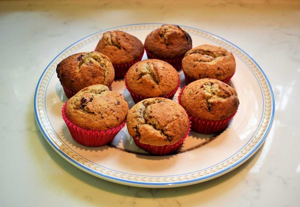Delicious raspberry chocolate and almond muffins made by Sara Walker using Mighty Fine Almond Dips