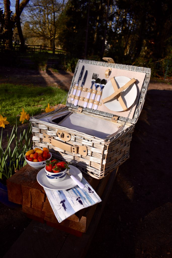 Vintage style wicker insulated picnic hamper basket from The Wonderful Garden Company