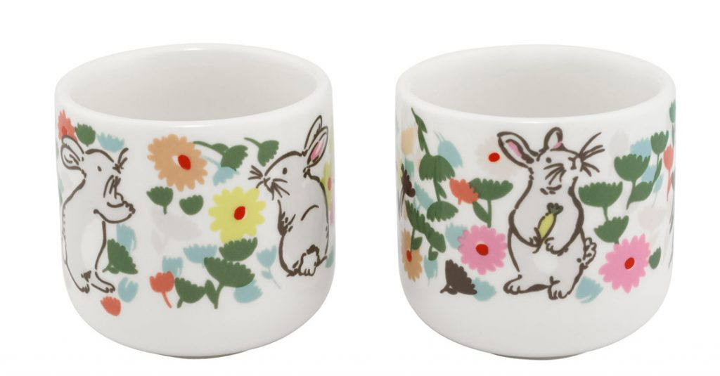 Pretty floral and rabbit design egg cups for Easter 2019