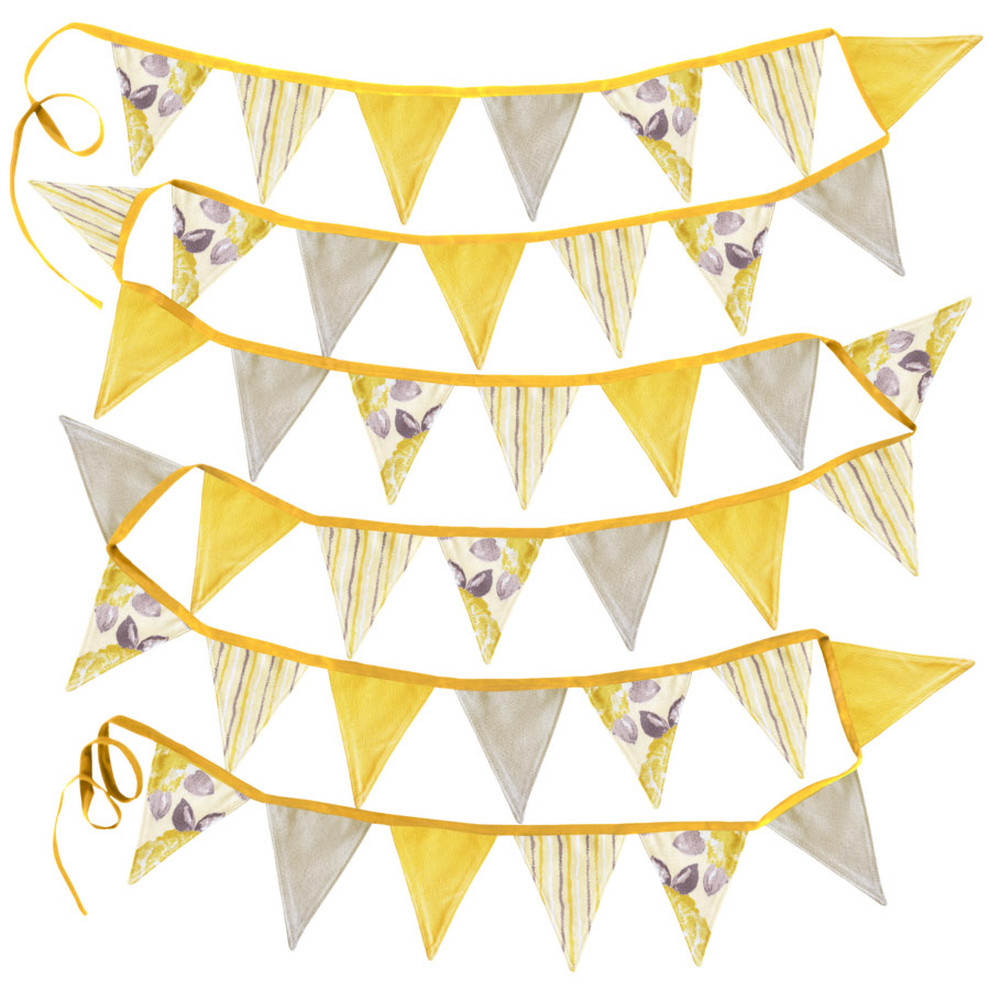 Lovely fabric bunting for a summer garden wedding reception