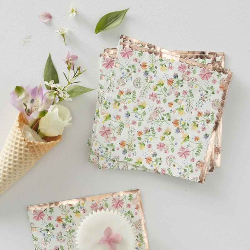 Floral napkins for a summer wedding reception