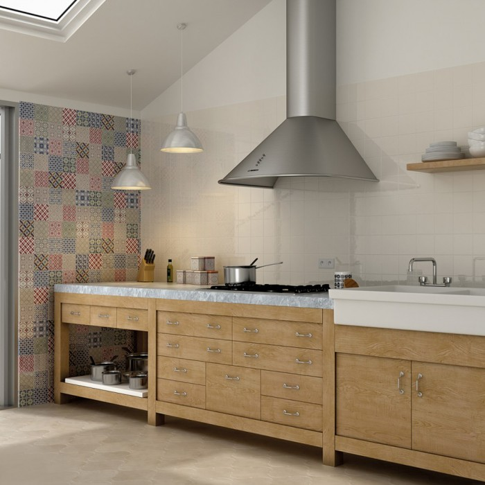 Patterned tiles make an attractive statement wall feature