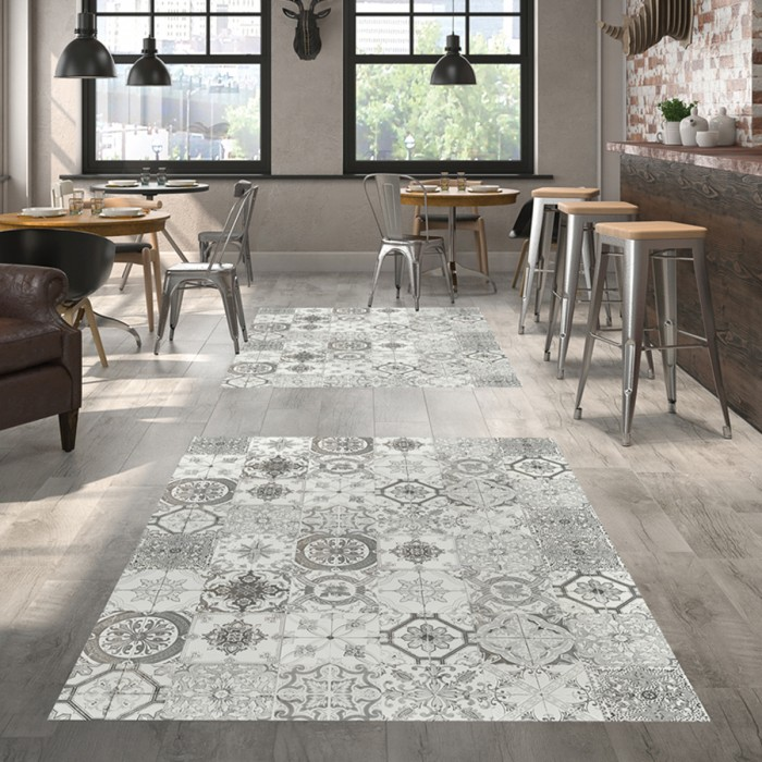 Patterned tiles in neutral shades create an attractive feature on the floor