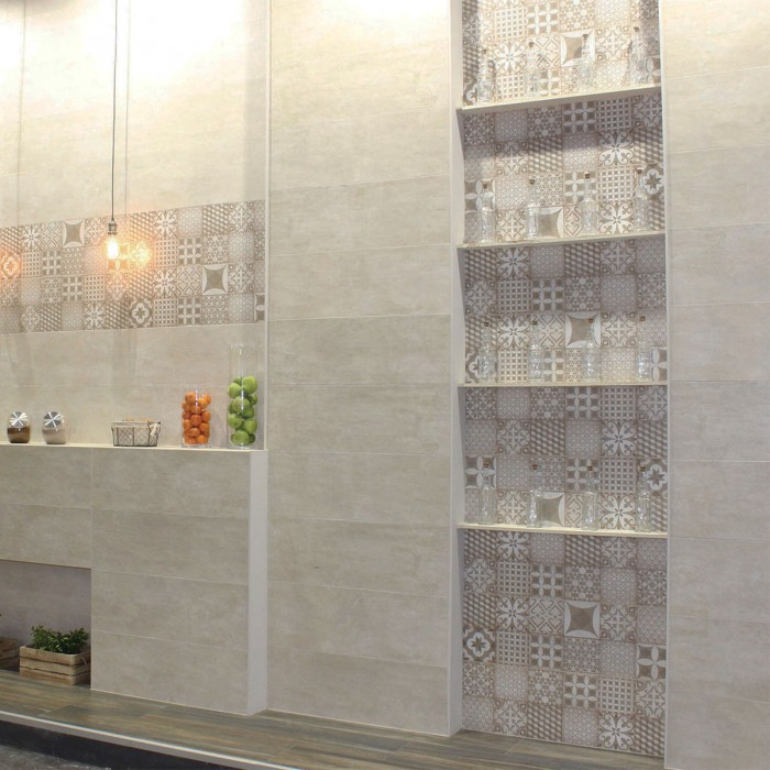 Patterned tiles can be used to create striking wall features