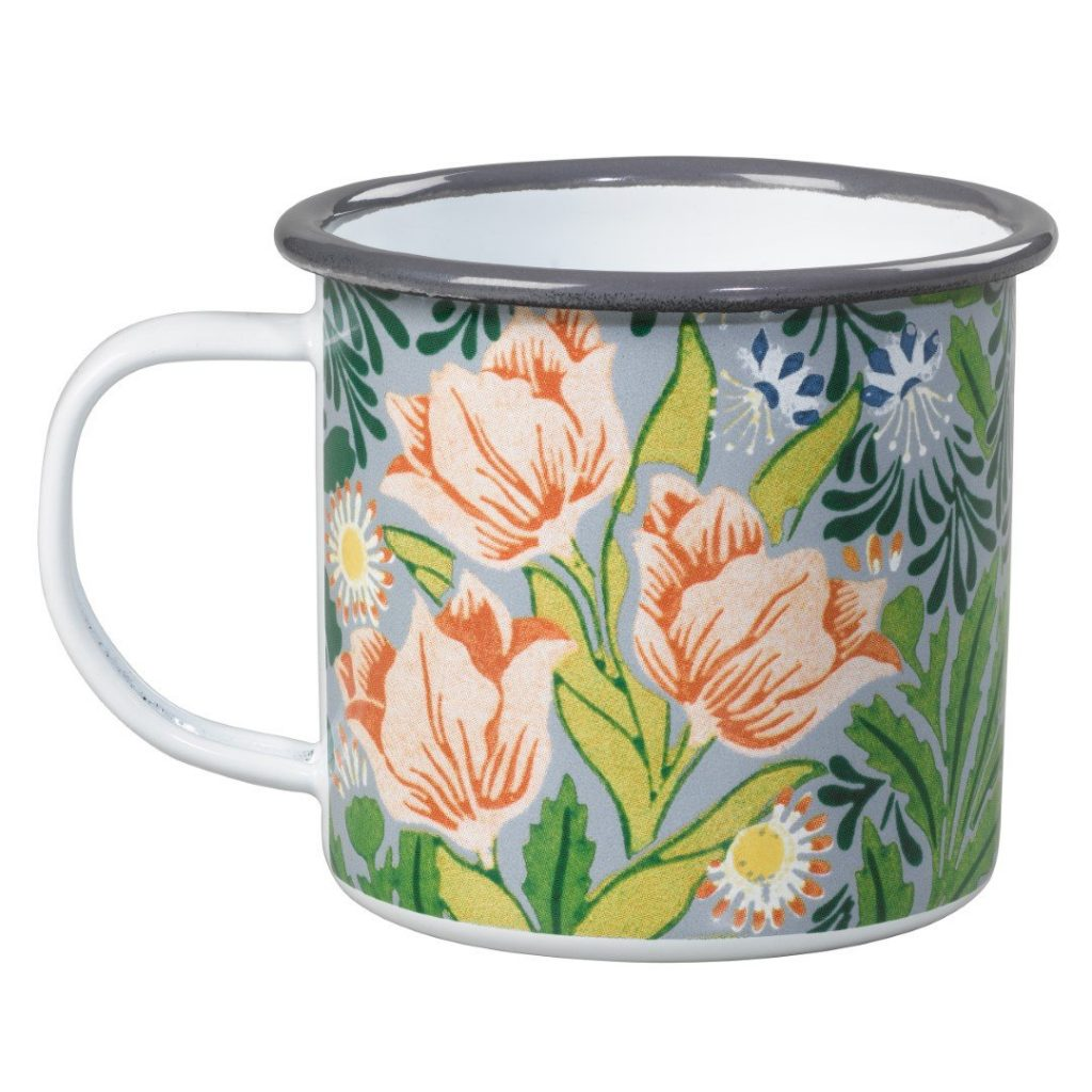 Enamel mug perfect for serving warm drinks outside at a bonfire night party