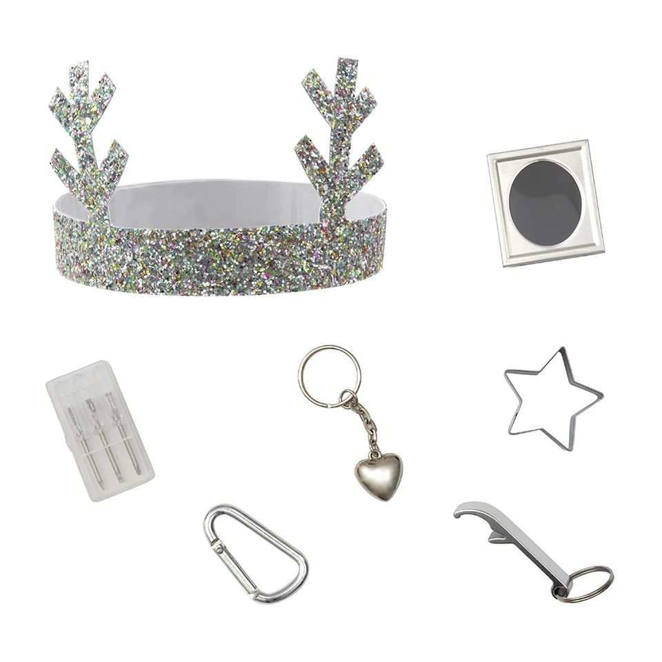 Typical contents found in the set of glitter reindeer Christmas crackers