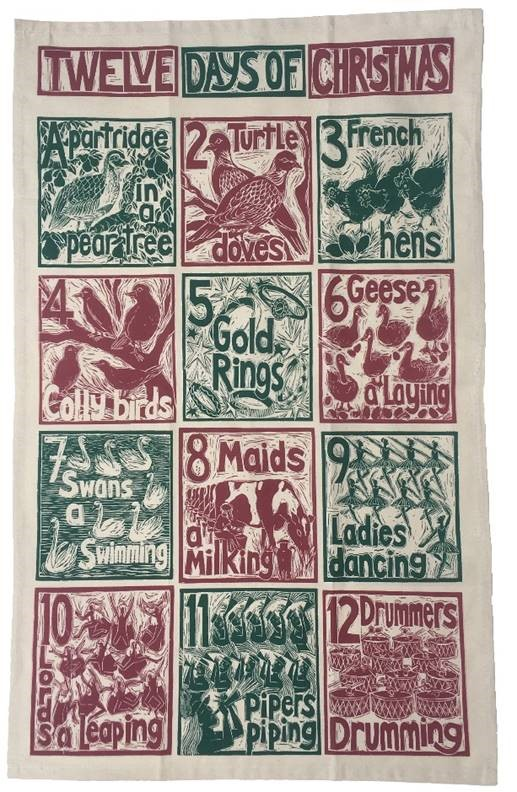 Twelve days of Christmas tea towel by Kate Guy