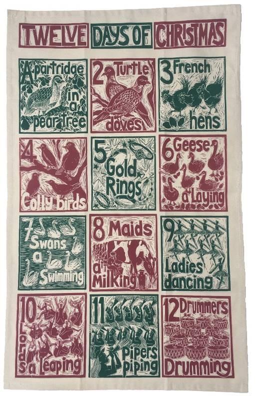 Twelve days of Christmas tea towel by Kate Guy