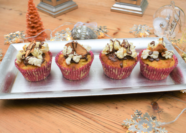 Toffee apple popcorn muffins with Metcalfe's Jumbles