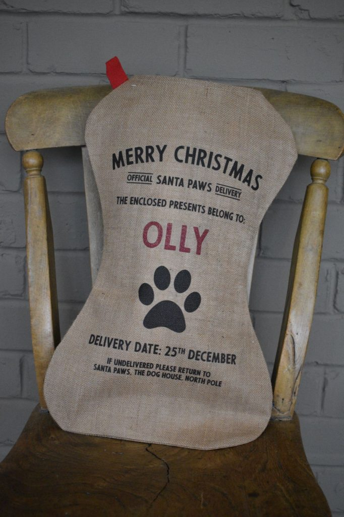 Gorgeous personalised stocking for a pet dog