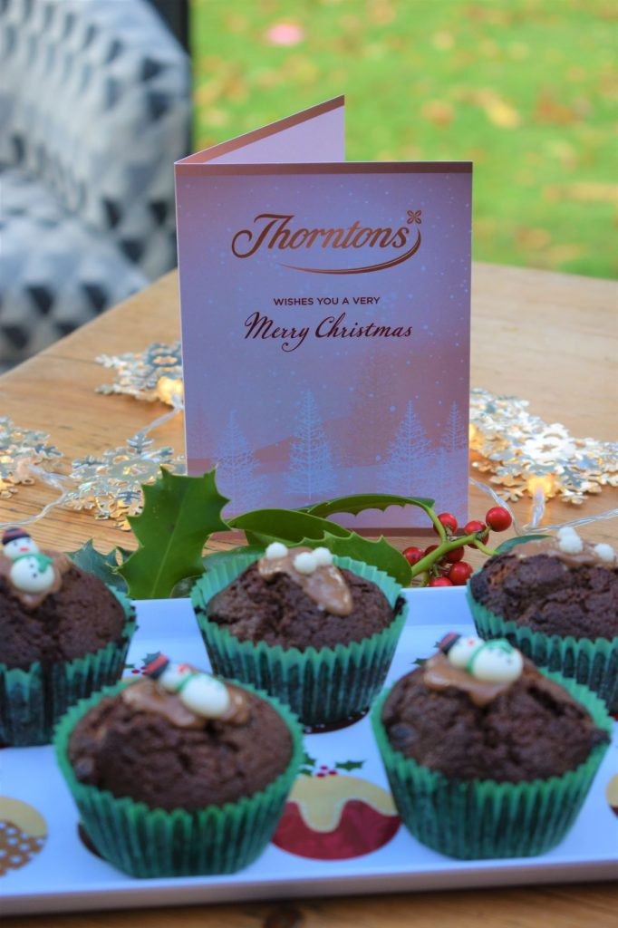 Christmas chocolate muffins made with Thorntons chocolate