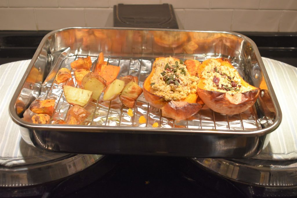 Von Shef cookware being used to cook stuffed butternut squash