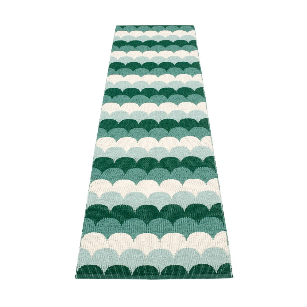 Kitchen rug design inspired by the scales on koi carp
