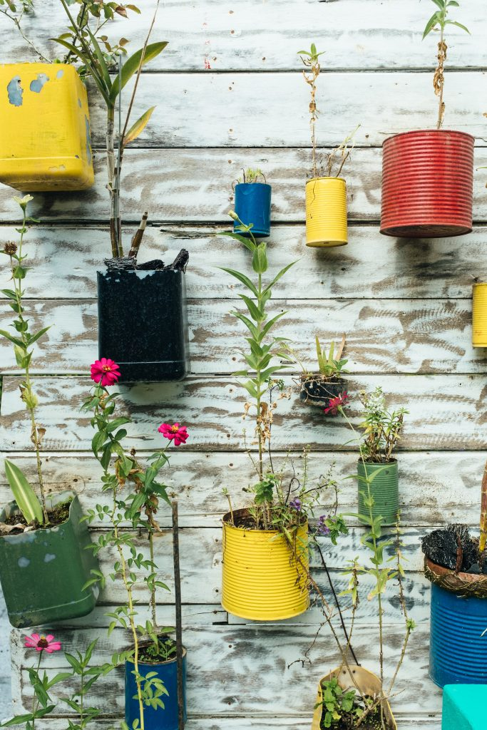 Colourful garden pots made from recycled tins