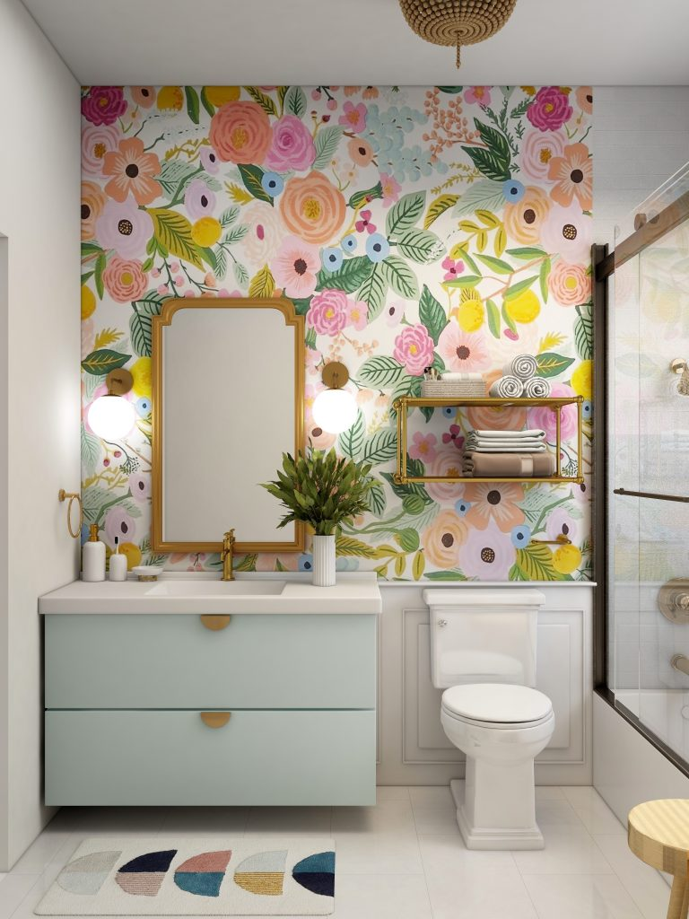 Gorgeous colourful statement wallpaper in a bathroom