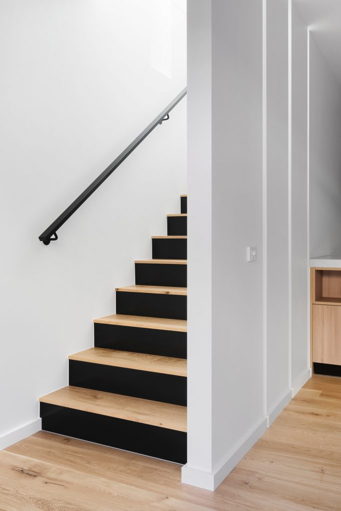 Staircase with hand rail in home